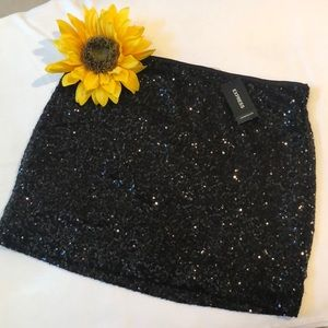 Express black sequin mini skirt